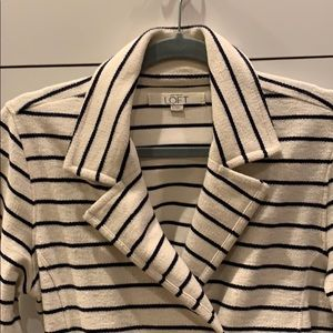 Loft Cream Navy stripe heavy cotton jacket Sz S